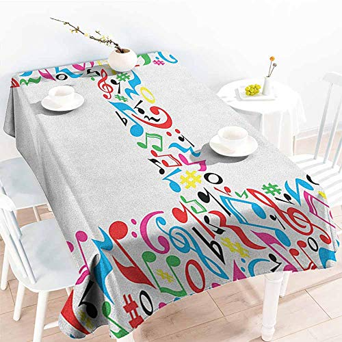 EwaskyOnline Spill-Proof Table Cover,Letter H Communication Tool Writing Language Element H Designed in Musical Notes Print,Dinner Picnic Table Cloth Home Decoration,W54x90L, -
