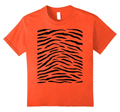 Kids Tiger Print - Easy Halloween Costume Idea - Tee Shirt 10 Orange
