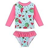 HUAANIUE Girls 2 Pieces Flower Longsleeve Sun Protection Swimsuit UPF50+ Pink Short Sleeve Swimwear 3M-4Y Summmer Wetsuit Rash Guard Swimming Set (3-4Y(Tag No.4A), WatermelonLong)
