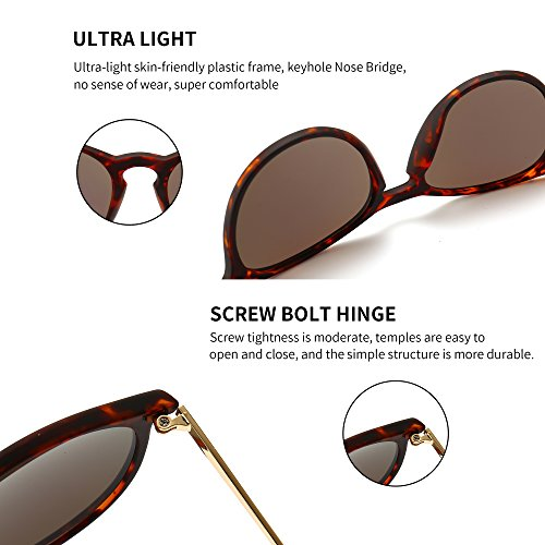583e1e22f62 SUNGAIT Vintage Round Sunglasses for Women Erika Retro Style (Amber ...