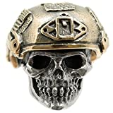 Soldier Skull Paracord / Lanyard Bead in .925 Sterling Silver & Bronze by GD Skulls
