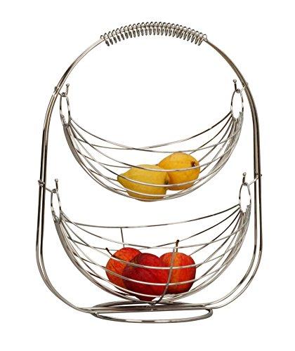 Designer Obstkorb Fruechtekorb Etagere Obstschale aus Metall silber verchromt 45 cm hoch
