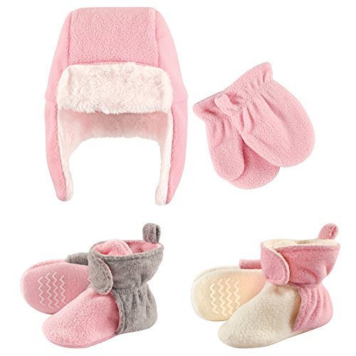 Hudson Baby Fleece Winter Hat, Mittens and 2 Pack Booties Set, Pink, 12-18 Months