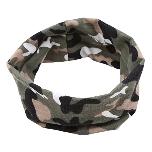 Gluckliy Cotton Blend Elastic Sport Headband Stretch Hairband for Running Workout Yoga Fitness, Camouflage Design