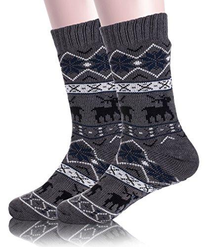 Mens Fuzzy Slipper Socks Christmas Deer Fleece lined Cozy Warm Fluffy Winter Socks With Grippers (Dark Grey) - Fleece Socks Men