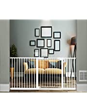 """Xifamniy Extra Wide Walk Through Baby Gate Pressure Mounted 24.80-81.50inch White Metal Pet Child Safety for Door,Hallway,Stair (White, 65.75""""-69.69"""")"""
