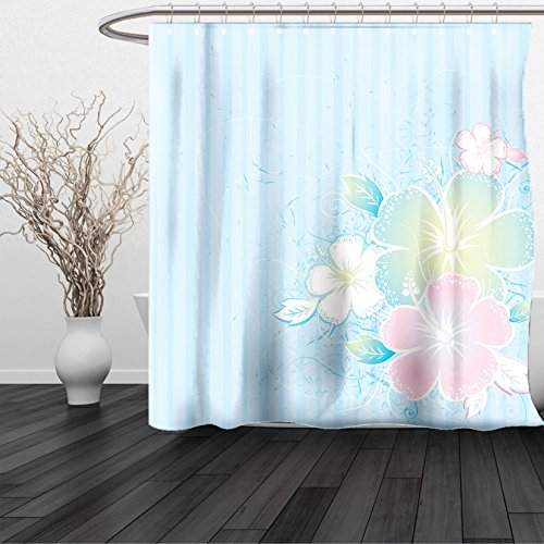HAIXIA Shower Curtain Flower Bouquet of Hibiscus Flowers on Vertical Lined Background Soft Colored Print Pale Blue Pale Pink