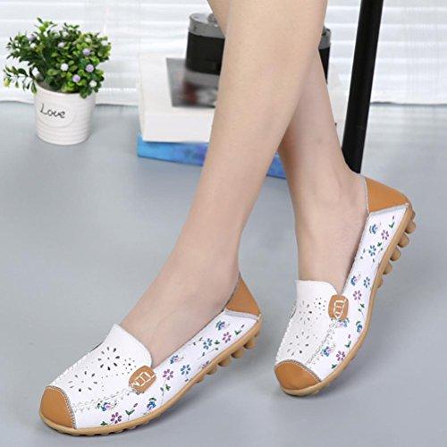 Enfiler En Plates Fleurs Chaussures À Slip Motif Style Blanc Soft Casual Mocassins Femme Flat on Ballerines Cuir Overdose BzSxgqwz
