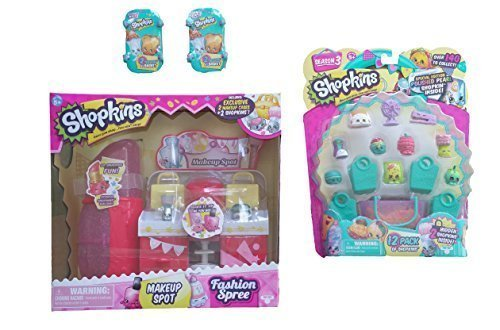 Shopkins Gift Set Bundle 4 Items: Shopkins Makeup Spot Playset, Shopkins S3 12 Pack and  Shopkins S3 Baskets