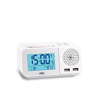 ADE ck1708 Radio Despertador Digital con Radio Reloj, 2 alarmas, Snooze, Pantalla LCD