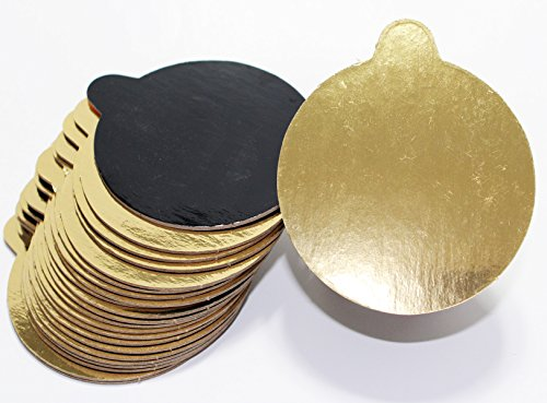 Mini Single Serving 3.25-inch Cake Boards. Set of 200 Small Double-Sided Metallic Gold/Black Rounds for Individual Slice or Portion. Elegant, Greaseproof with Easy-to-Wipe Laminate Top. Proudly Made ()