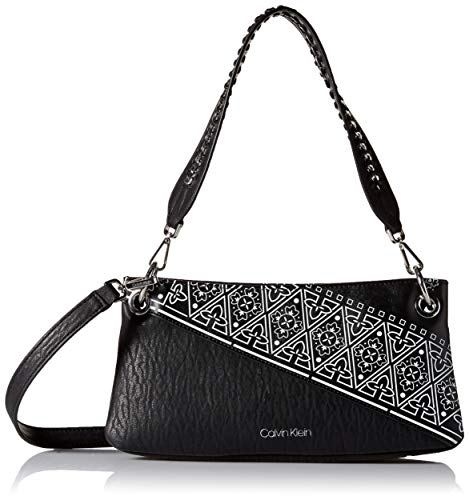 Calvin Klein Raya Printed Bubble Lamb Novelty Woven Chain Demi Shoulder Bag, Black/White