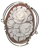 Cameo Pin Pendant Rose Bouquet, Master Carved, Italian Conch Shell Sterling Silver 18k Gold Overlay