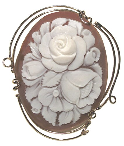 Cameo Pin Pendant Rose Bouquet, Master Carved, Italian Conch Shell Sterling Silver 18k Gold Overlay by cameosRus