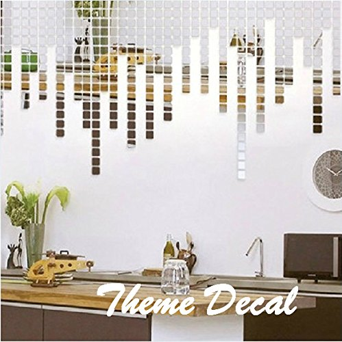 Amazon.com: Creative Luxury 100pcs 2x2cm Fashion Silver 3D Mirror Wall  Sticker Mosaic Mirror