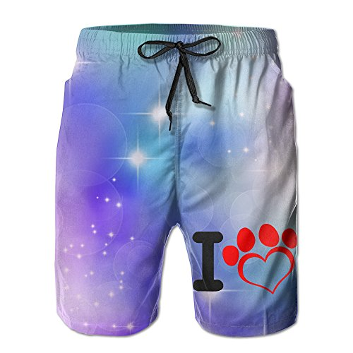 I Love Dog Leisure Labor Day 2017 Adults Swim Trunks Beach Shorts Sleepwear With Pockets For Men