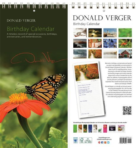 Donald Verger Butterfly Flower Birthday and Anniversary Perpetual Wall Desk Fine Art Books and Calendars - Unique and Great Nature Gifts and Stocking Stuffers for Christmas, Xmas & Holidays for Him, Her, Women, Men, Husband and Wife - Updated 2014