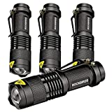 ROCKBIRDS LED Mini Aluminum Flashlights, Adjustable, High Lumen, Fluorescent Ring, 3 Modes, Water Resistant- Best Tools for Camping, Outdoor, Emergency (4 Pack)