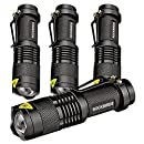 Rockbirds LED Flashlight, Mini Super Bright 3 Mode Tactical Flashlight, Best Tools for Hiking, Hunting, Fishing and Camping (4 Pack)
