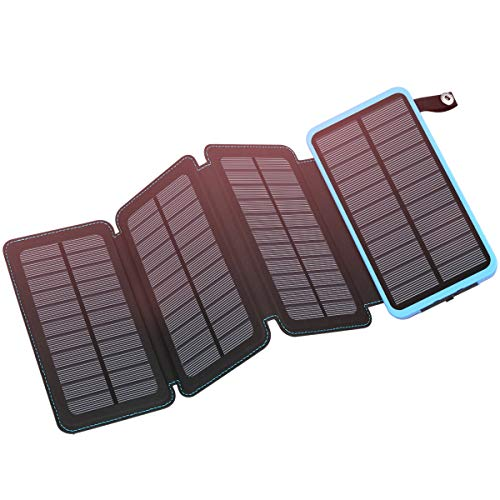 Solar Charger 25000mAh, FEELLE Portable Solar Power Bank Dual USB Ports Waterproof External Battery with LED Flashlight for Smartphones, Tablets and - Dual Lamp Power Daylight Compact