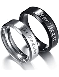 Stainless Steel Couples Ring His & Hers Real Love Heart Engraved His King Her Queen Promise Ring Wedding