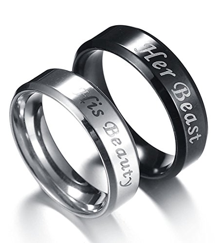 Stainless Steel Couples Ring His & Hers Real Love Heart Engraved His King Her Queen Promise Ring Wedding (Her Beast men, 10)