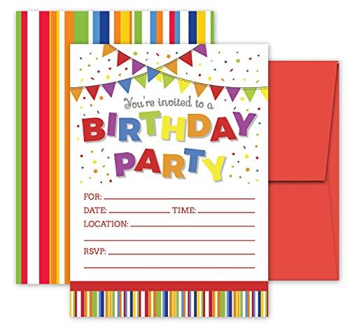 Deluxe Birthday Party Invitations for Adults, Teens, Boys & Girls, Kids Party Supplies, 20 Double Sided Large 5 x 7 Flat Fill in Invites with Red Envelopes (Birthday - Birthday Invitations Recycled