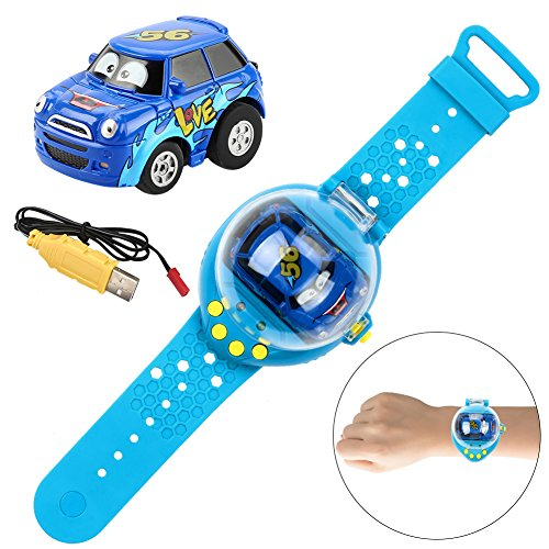 New Power-Sensing Remote Control Car Hitopin Watch Remote control car Watch Gravity Sensor Command RC Car ,Funny Adjustable Wrist Watch Remote Control Toy Car, Rechargeable and Durable Kids Toy (BLUE)