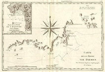 Map Australia Tasmania.Amazon Com Carte De La Terre Van Diemen Tasmania Adventure Bay