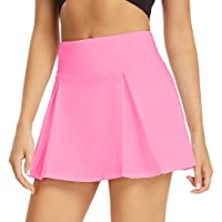 Women's Athletic Stretch Skort Pleated Skirt with Shorts and Pocket for Running Tennis Golf Workout Cheerleading