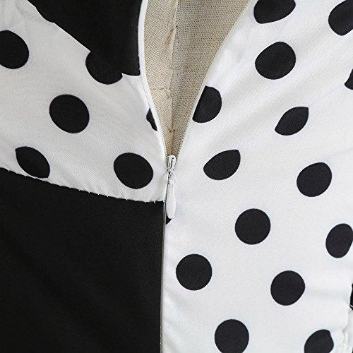 senza elegante donna cerimonia bow abiti d'onda abito veste donna vestito vestito vita maniche lunghi estate vestito lunga Abiti vestito dress Weant lungo knot Bianco gonna Punto Cocktail 05zqR7