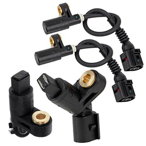 AUTEX 4PCS ABS Wheel Speed Sensor Front & Rear ALS418 ALS465 ALS470 compatible with 2000-2006 Audi TT Quattro 1998 Volkswagen Jetta