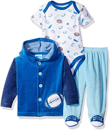 (Bon Bebe Baby Boys' 3 Piece Velour Jacket Set with Bodysuit and Pant, Football Blue, 6-9 Months)