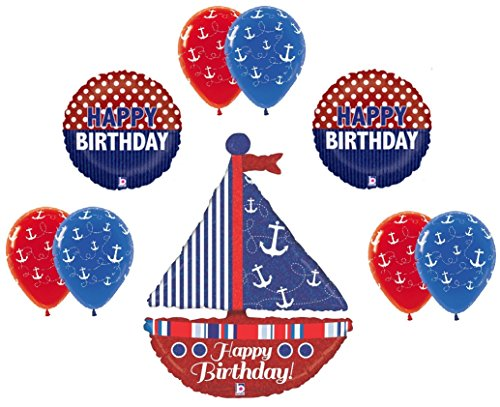 SAILBOAT Sail Boat Sailing Yacht Club Nautical 9 Pc Birthday Party Mylar BALLOON -