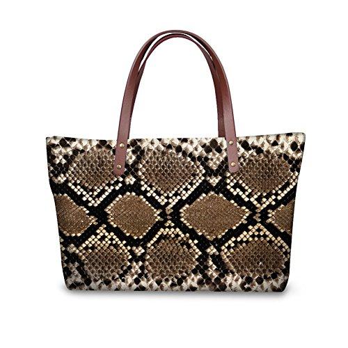 Snakeskin Print Tote - Mumeson Fashion Snakeskin Print Women Handbags Tote Bag Top Handle Bags Shoulder Bags Purse