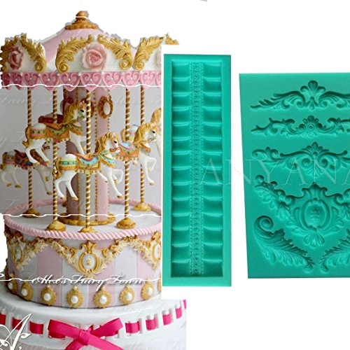 Anyana BIG ribbon ruffle border Vintage baroque Curlicues scroll lace mould cake Fondant gum paste mold for Sugar paste gumpaste designer cupcake decorating topper decoration sugarcraft decor set of 2