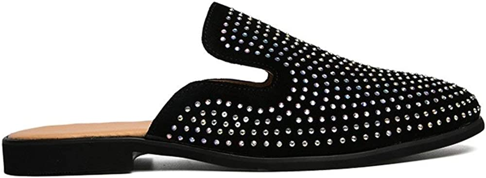 White Diamond is Optional Sneaker Shoe Slippers for Men Nonchalant Sandals Slip On Style OX Leather Half A Towed Shoes Pure Colours Black Diamond Decor