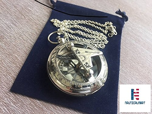 - NAUTICALMART Chrome/Silver Finish Brass Sundial Compass w/Chain & Velour Bag - Necklace Pendant - Old Vintage Pocket Style - Nautical Gift