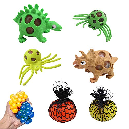 LovesTown  Mesh Stress Balls, Anti Stress Ball Stress Squeeze Toys 6pcs Stress Relief Toys Vent Toys for Reduce Stress -