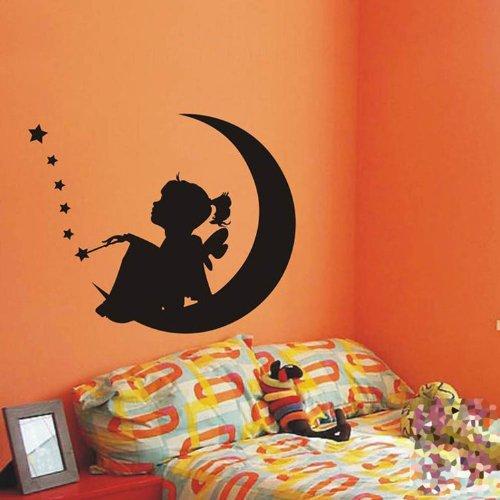 Angel Girl Sitting on the Moon Stars Wall Sticker Decal Home Decor for Children's Bed Room Nursery Kindergarten, Black, S