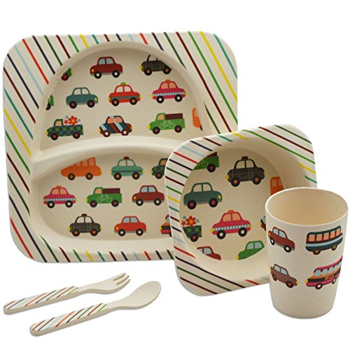 Children's 5 Piece Bamboo Dinner Set - Kids Plate, Bowl, Cup, Fork & Spoon - Cars Design ()