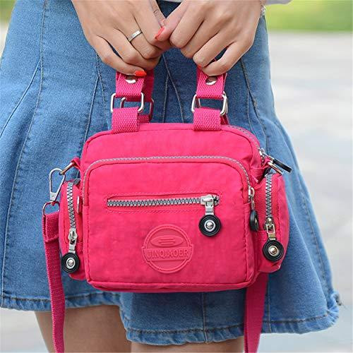Chou Girls Plum Shoulder Body amp; Bag For Water Mini Color Women Handbag Solid Cross Nylon Resistant Tiny d1aqZxa