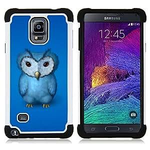 BullDog Case - FOR/Samsung Galaxy Note 4 SM-N910 N910 / - / BIRD GRUMPY BLUE DRAWING BABY FURRY OWL /- H??brido Heavy Duty caja del tel??fono protector din??mico - silicona suave