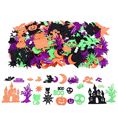 Unomor Halloween Glitter Foam Craft Stickers Self-Adhesive Party Decoration Stickers for Kids, 500 Pieces -