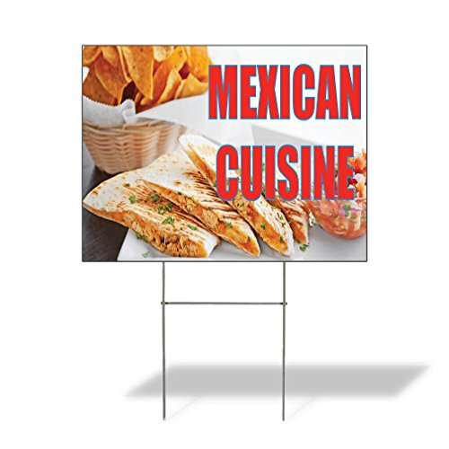Plastic Weatherproof Yard Sign Mexican Cuisine Pita, Chips and Dip Restaurants Brown Mexican Cuisine for Sale Sign Multiple Quantities Available 18inx12in One Side Print One Sign