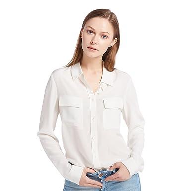 67626826b3bd LILYSILK Chemise Femme Chic Soie Naturelle Chemisier Classique Top à  Manches Longues Casual Shirt Blouse Chic