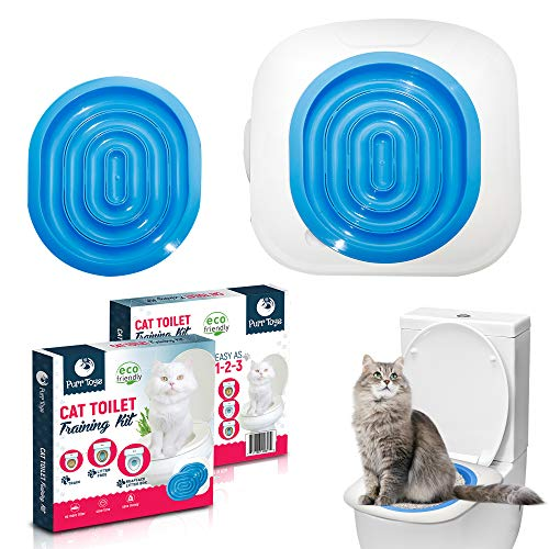 Purrtoys Cat Toilet Training Kit - Clean, Convenient Disappearing Litter Box - Litter Training Kwitter Toilet