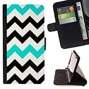 For HTC One M7 Chevron Black Teal White Pattern Clean Style PU Leather Case Wallet Flip Stand Flap Closure Cover