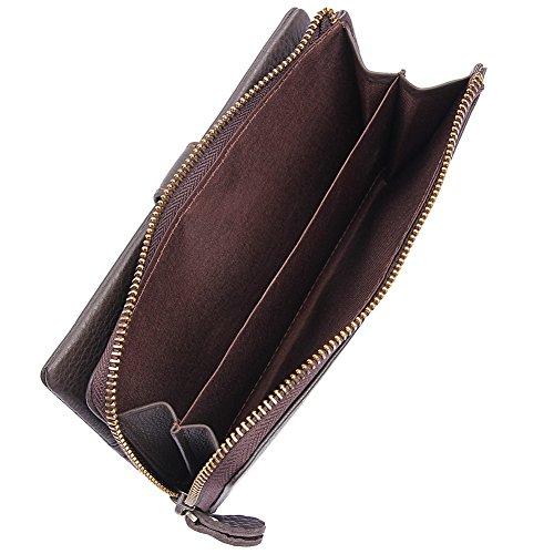 Genda 2Archer Lange Bifold Geldbörse Telefon Tasche mit Reißverschluss