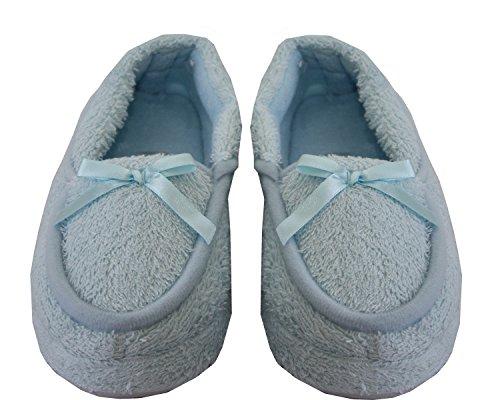A&H Footwear  Toweling Mocc,  Mädchen Damen Flache Hausschuhe Blau